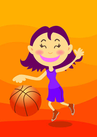 a happy teenage girl is playing basketball. photo