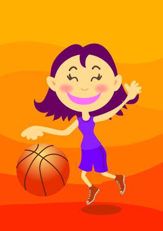 teenage girl: a happy teenage girl is playing basketball.