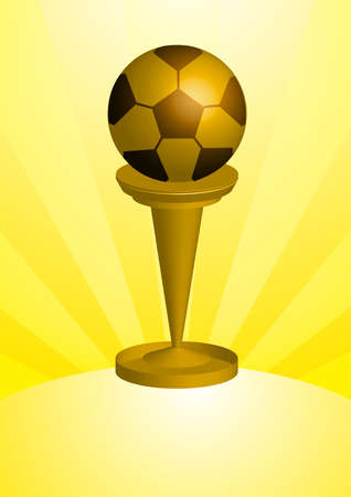 A golden solid soccer ball Awards and Trophy. photo