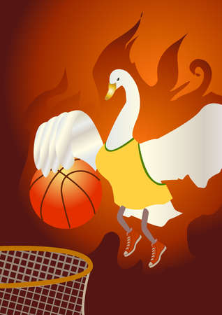 A swan which is on fire jump up and shoot a basketball in to the hoop.