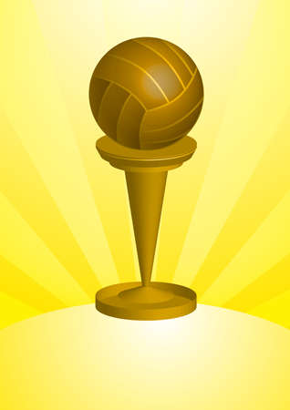 A golden solid volleyball Awards and Trophy.