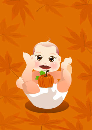 a cute baby is playing with a small pumpkin. Stock Photo