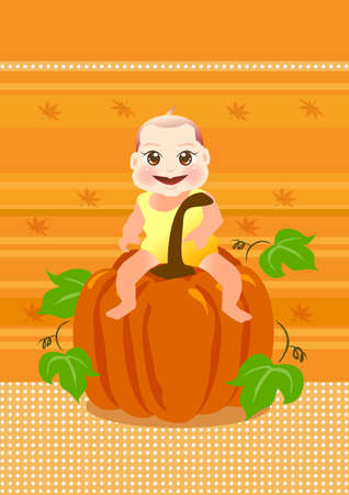 baby sit on a big pumpkin for thanksgiving. Stock Photo