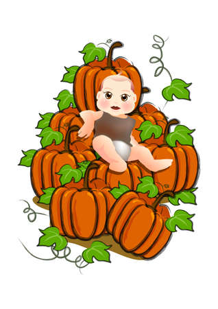 baby sit on a stack of  pumpkins for his 1st thanksgiving.