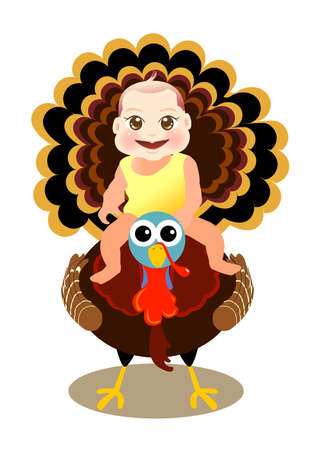 a cute baby sit on turkey to celebrate thanksgiving