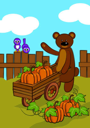 a brown bear has a big harvest of pumpkins, it use trolley to take the pumpkins.