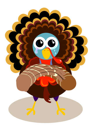 a crying turkey is begging not to kill it. a humor joke for thanksgiving. Stock Photo