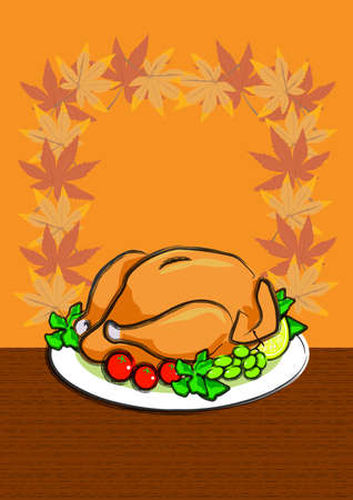 illustration for a delicious roasted turkey on the plate. favorite food for thanksgiving.