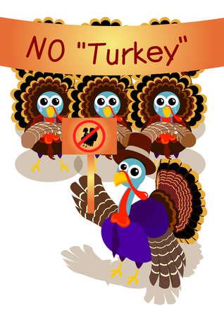 frappe: un gentleman avec chapeau de p�lerin en Turquie menant un grand nombre de dindes de gr�ve pour aucune Turquie pendant Thanksgiving Day. Banque d'images