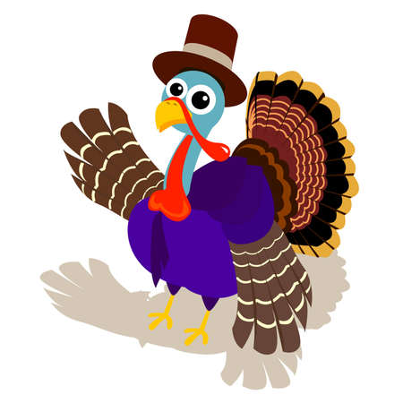 a cute turkey wear pilgrim hat and say hello to you. cartoon for thanksgiving.