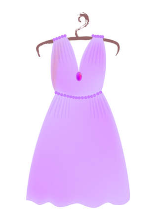 a violet dress on a hanger isolated on white background, element for wedding, valentine.