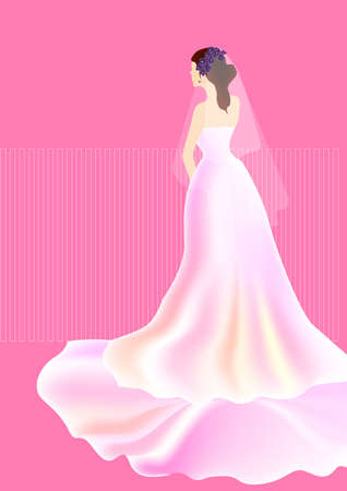 a beautiful bride wear a long white dress on pink background.