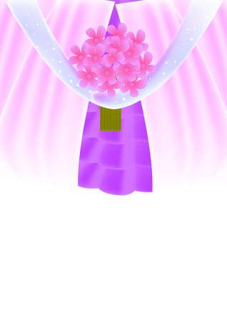 Piekne Rozowe Kwiaty Bukiet Posiadania Przez Panne Mloda Zdjecie Seryjne