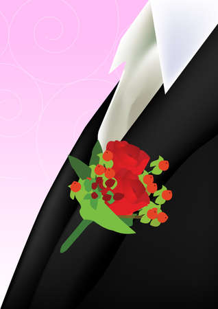 corsage: a red rose boutonniere on the groom