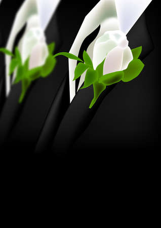 illustration for groomsmen suit with white rose boutonniere. background for wedding.