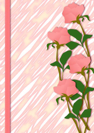 a background with pink roes, and rough pink stroke. Stock Photo