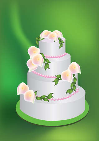 illustration for a wedding cake with lily flowers on top. Stock Photo