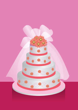illustration for a four layers of wedding cake with flowers on top.