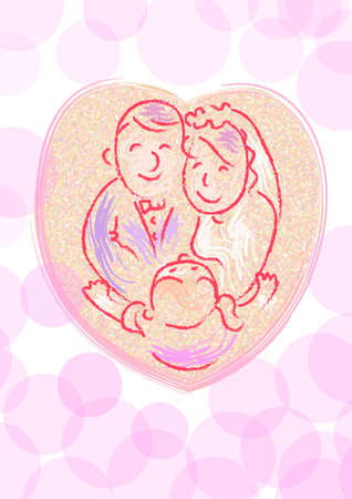 a girl is hugging a wedding couple in love shape. element for wedding.