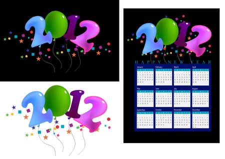 a set of 2012 shaped balloons, 2012 calendar.