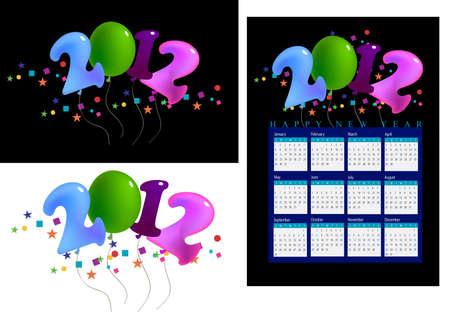 a set of 2012 shaped balloons, 2012 calendar. photo