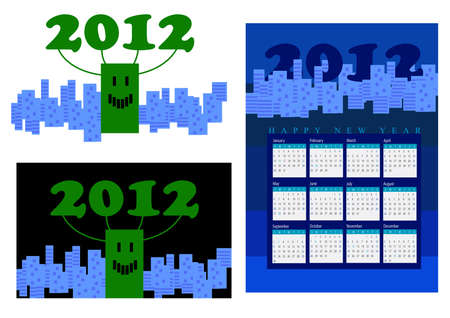 A set of 2012 design element, 2012 connected with a green smiling buildng among blue city, 2012 calendar.