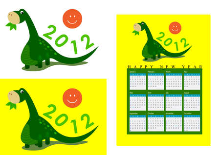 long neck: a cute long neck dinosaur is eating leafs and 2012 on her tail.