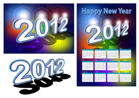 A set of 2012 design element, 2012 shape with lighting effect, 2012 calendar.