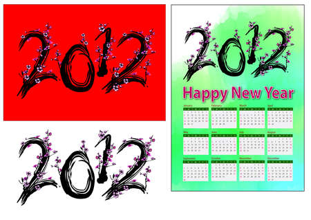 A set of 2012 design element, 2012 shape plum tree, 2012 calendar. Stock Photo