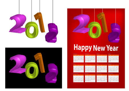A set of 2012 design element, 2012 shaped lantern, 2012 calendar.