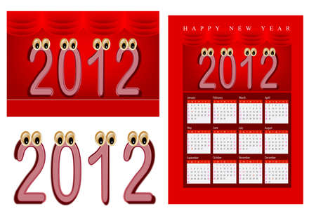 A set of 2012 design element, 2012 shaped cartoon character, 2012 calendar.