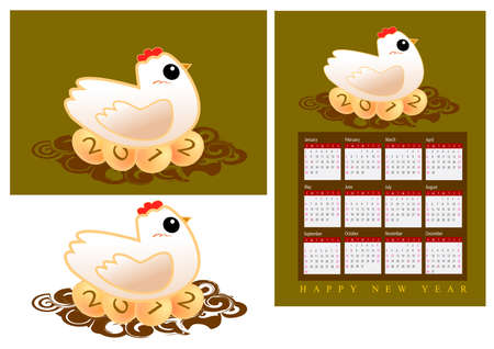 a hen is hatching eggs with the year 2012 Stock Photo - 11578036
