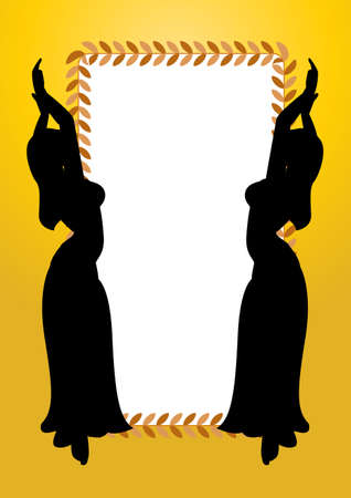 belly dancer: a frame with two belly dancing silhouette sexy girls and you could put the text on the center.  Stock Photo