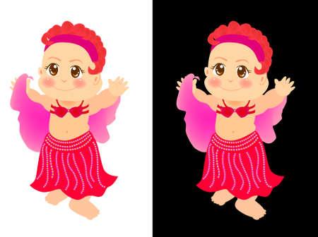 tanzen cartoon: eine niedliche kleine Mädchen lernen, eine Bauchtänzerin sein. Lizenzfreie Bilder