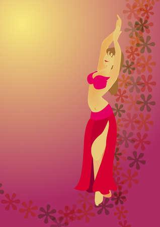 danseuse orientale: une fille sexy belle est une danseuse du ventre comme un arrière-plan.