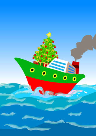 cruise cartoon: a christmas tree and gifts shipping away by a cruise ship
