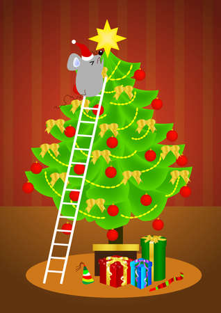 a litte mice put a star on the decorated christmas tree. Stock Photo
