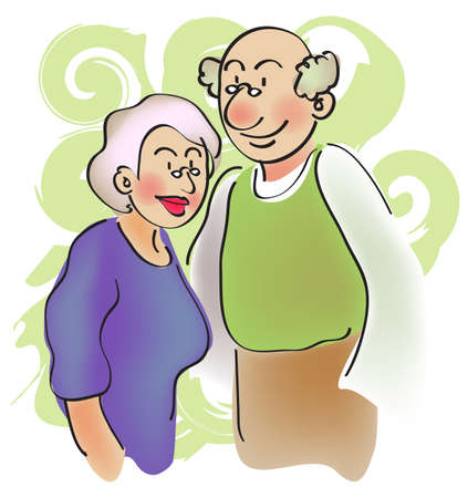 cartoon character for a pair of senior couple, grandparent. Stock Photo