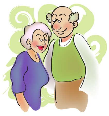 grandparent: cartoon character for a pair of senior couple, grandparent. Stock Photo