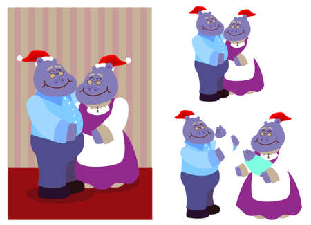 a set of cartoon character for hippopotamus grandparent wearing santa hat and holding a baby