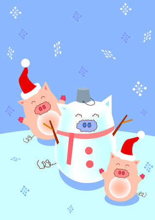 two piggy are playing in a snowing day and they make a pig snowman.