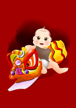 a baby boy sit beside with a costume of dragon dance. photo