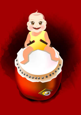 a baby is siting on a big drum and playing with it. Stock Photo