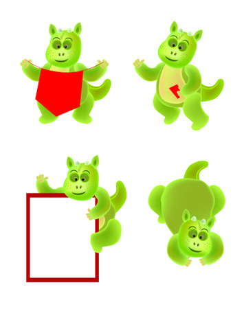 a set of dragon baby cartoon character