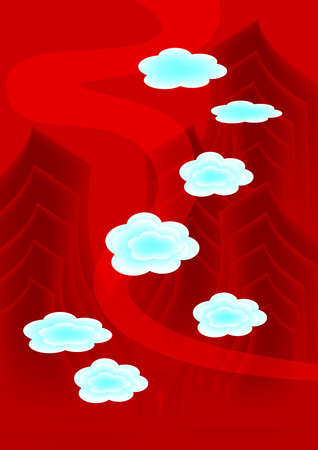 cloud and mountain in red chinese traditional painting style