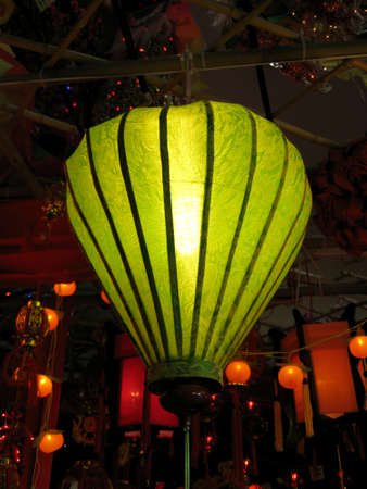 green lantern hanging on top, decoration for chinese new year.