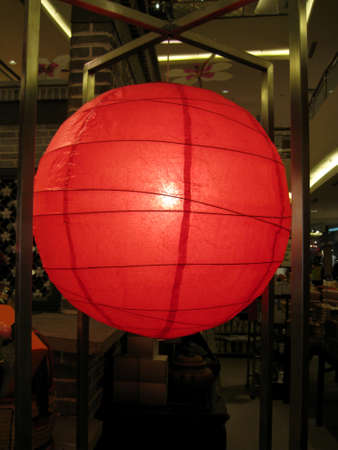 a red lantern hanging up on top. decoration for Chinese new year.