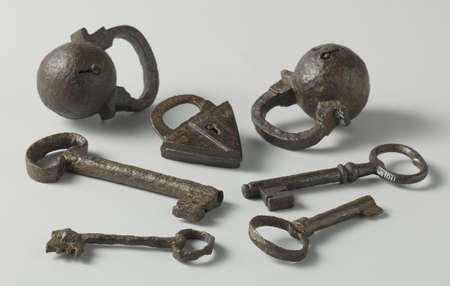 antique keys and locks Banco de Imagens