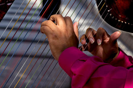 busker: hands playing harp Stock Photo