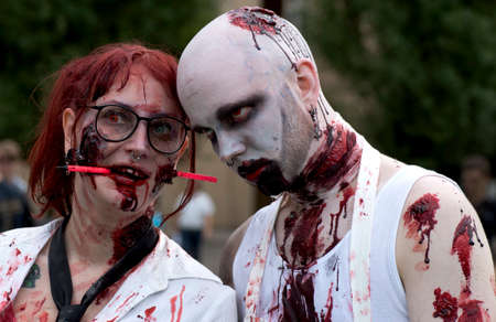 ugliness: Zombie couple at Zombie walk in Stockholm august 2016